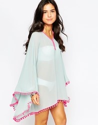 Max C Kaftan With Pom Poms Blue