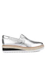Kenneth Cole Rainer Leather Platform Loafers Silver