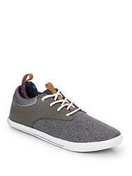 French Connection Leather And Flannel Lace Up Sneakers Dark Grey