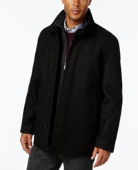 London Fog Men's Wool Blend Layered Car Coat Black New Charcoal