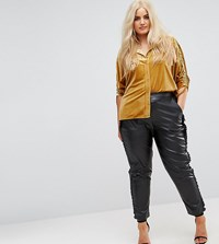 Elvi Faux Leather Cigarette Trouser With Frill Side Detail Black
