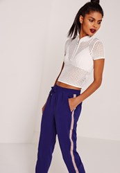 Missguided Zip Through Knitted Mesh T Shirt White White