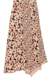Theory Asymmetric Floral Print Silk Crepe De Chine Skirt Pink