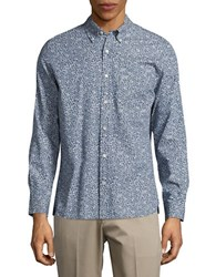 Brooks Brothers Floral Button Front Sportshirt Blue