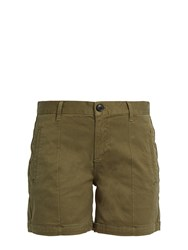 Frame Le Cuffed Mid Rise Stretch Cotton Shorts Khaki