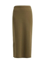 Allude Cashmere Midi Skirt Dark Green