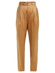Christophe Lemaire Wide Leg Belted Trousers Light Brown