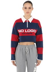 D Antidote Cropped Striped Polo Shirt Red Blue