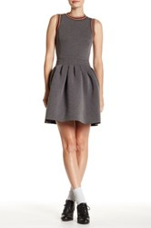 English Factory Back Cutout Fit And Flare Dress Gray