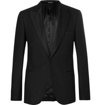Alexander Mcqueen Black Slim Fit Wool Blend Tuxedo Jacket