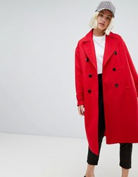 Pull And Bear Pullandbear Single Breasted Smart Coat In Red