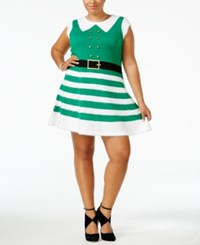 It's Our Time Trendy Plus Size Elf Holiday Sweater Dress Cloverfield