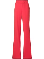 Emporio Armani High Waisted Flared Trousers Pink And Purple