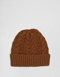Asos Wool Mix Cable Fisherman Beanie In Tobacco Tobacco Tan