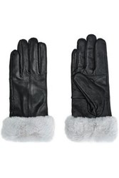 Surell Faux Fur Trimmed Leather Gloves Stone