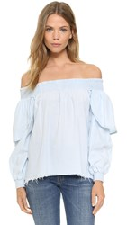 One Teaspoon Off Shoulder Top Salted Chambray