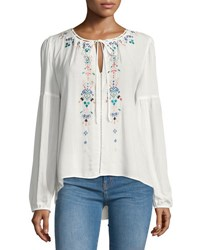 Parker Embroidered Peasant Blouse White Pattern