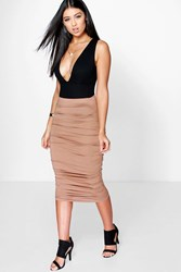 Boohoo Ruched Sides Jersey Midi Skirt Camel