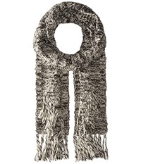 Polo Ralph Lauren Chenille Diamond Aran Scarf Black Cream Scarves