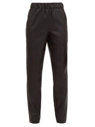 Tibi High Rise Faux Leather Trousers Black