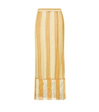 Missoni Mare Crochet Knit Striped Wrap Skirt Gold