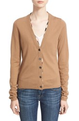 Burberry Women's Brit Check Trim Wool Cardigan Camel