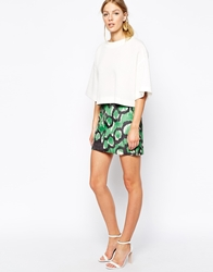 French Connection Mini Skirt In Moth Pony Print Astrogreen