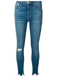 Frame Ripped Skinny Jeans Blue