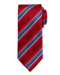 Brioni Textured Striped Silk Tie Red Blue
