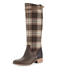 Charles David Gentry Plaid Flat Riding Boot Brown