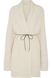 Helmut Lang Oversized Belted Wool Blend Cardigan White