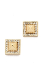 Rebecca Minkoff Pave Pyramid Stud Earrings Gold Clear
