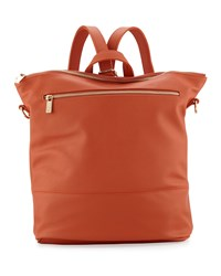 Neiman Marcus Saffiano Faux Leather Square Backpack Burnt Orange