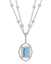 Penny Preville Double Strand Opal And Diamond Pendant Necklace