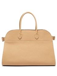 The Row Margaux 17 Grained Leather Tote Bag Light Tan