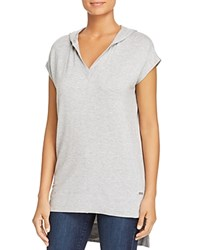 Marc New York Performance Hooded High Low Tunic Top Light Gray Heather