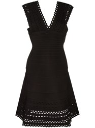 Herve Leger V Neck Flared Dress Black