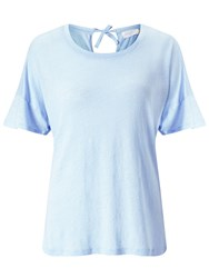 John Lewis Collection Weekend By Tie Back Linen Top Pale Blue