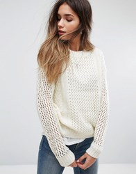 Noisy May Loose Knit Jumper Snow White