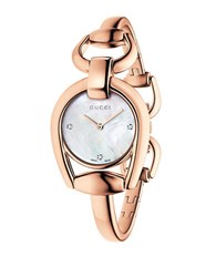 Gucci Ya139508 Horsebit Rose Goldtone Bangle Watch