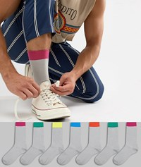 Asos Design Socks In Grey With Bright Colour Welts And Branded Soles 7 Pack