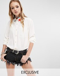 Reclaimed Vintage Bee Collar Patch Boyfriend Shirt White