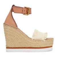 See By Chloe Off White Glyn Wedge Espadrilles Sandals