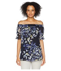 Ellen Tracy Off The Shoulder Blouse W Gathered Sleeves Trellis Blossom Ink Navy