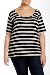 Susina Striped Elbow Length Sleeve Scoop Neck Tee Plus Size No Color