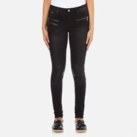Karl Lagerfeld Women's Denim Biker Pants Fading Black
