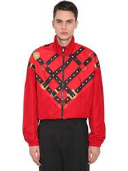 Versace Bondage Print Zip Up Techno Track Jacket Red