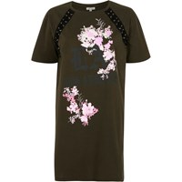 River Island Womens Khaki Green Floral Lace Up Oversized T Shirt
