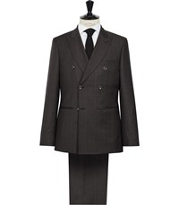 Reiss Lowell Check Double Breasted Suit In Chocolate