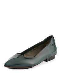 Cnc Costume National Pointed Toe Patent Leather Flat Forest Green